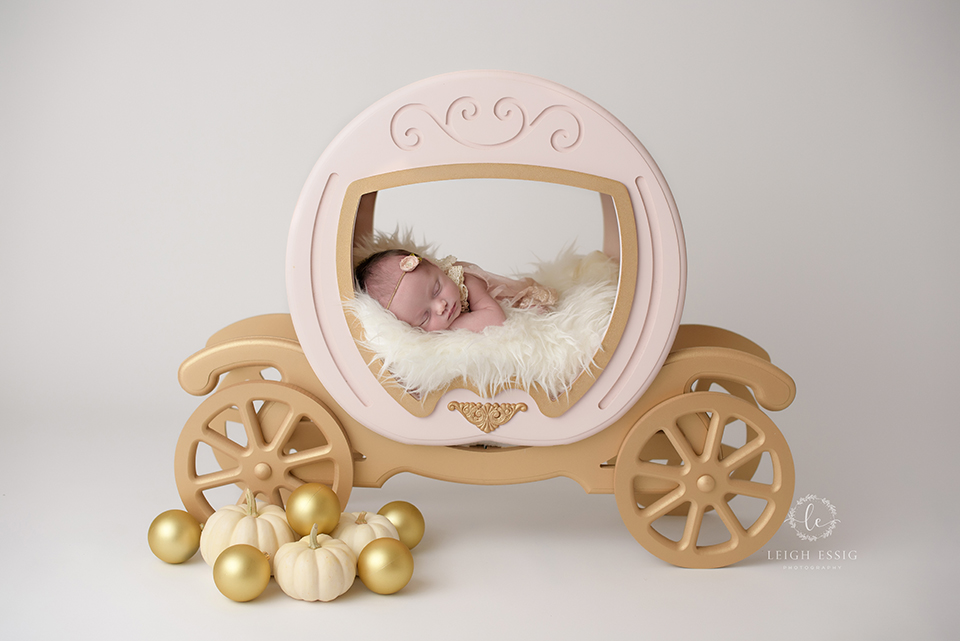 infant girl in Cinderella carriage