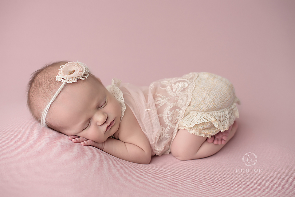 Baby girl in pink and cream crochet newborn photography